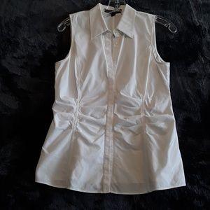 Lafayette 148 | white Ruched Sleeveless Blouse